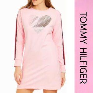 Tommy Hilfiger Heart Pink Sweatshirt Dress